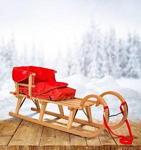 Hörner-Schlitten 125 cm   Buche Massivholz   Sport-Qualität