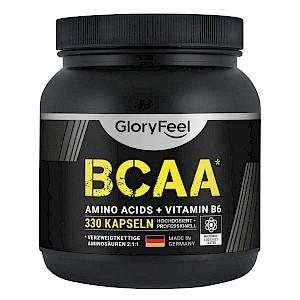 BCAA Kapseln - 330 Stück von GloryFeel - L-Leucin, L-Valin, L-Isoleucin & Vitamin B6 - 2,7 mg Vit. B6 pro Tagesdosis - verzweigtkettige Aminosäuren