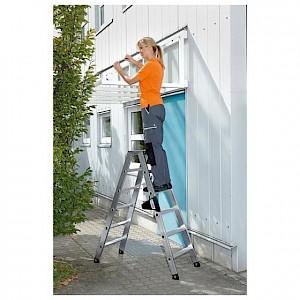Günzburger Steigtechnik - Stehleiter 2x8 Stufen, Aluminium, beidseitig begehbar, H 1870 mm, B 580 mm