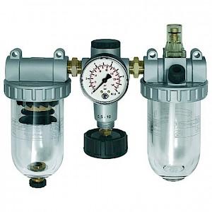 RIEGLER® - 3er-Wartungseinheit Standard Kunststoff Ablass halbautomatisch BG3 G3/4Zoll