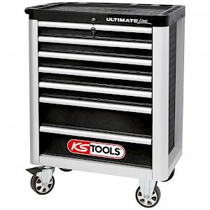 KSTOOLS® - ULTIMATEline Werkstattwagen,mit 7 Schubladen,schwarz/silber