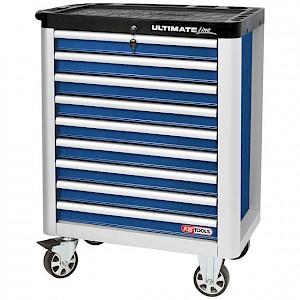 KSTOOLS® - ULTIMATEline Werkstattwagen, mit 9 Schubladen, blau/silber
