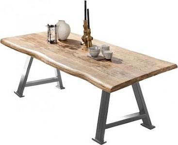 SIT Mango-Massivholz Esstisch in verschiedenen Größen braun/silber Gr. 200 x 100
