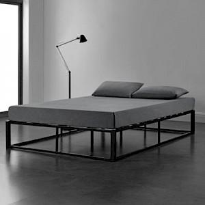 en.casa Metallbett Bettgestell 90/120/140x200cm Stahlrahmen mit Lattenrost schwarz Gr. 90 x 200