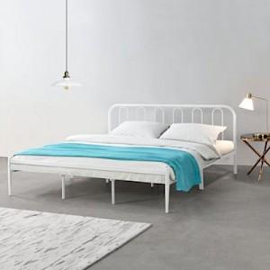 en.casa Metalbett Doppelbett mit Lattenrost weiß in verschiedenen Größen Gr. 160 x 200
