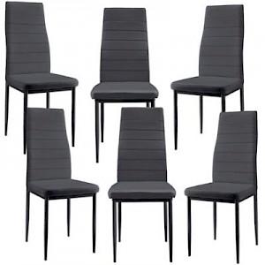 en.casa Polsterstühle Esszimmerstühle 6er Set aus Kunstleder in verschiedenen Farben dunkelgrau