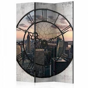 artgeist Paravent NYC Time Zone [Room Dividers] grau-kombi Gr. 135 x 172