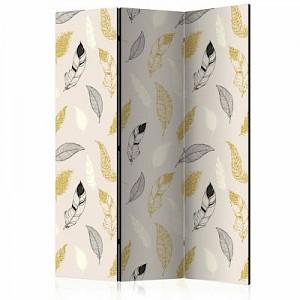 artgeist Paravent Golden Feathers [Room Dividers] gold-kombi Gr. 135 x 172