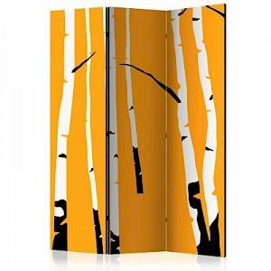 artgeist Paravent Birches on the orange background [Room Dividers] gelb-kombi Gr. 135 x 172