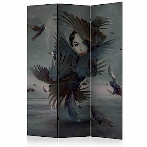 artgeist Paravent Covered in feathers [Room Dividers] graublau Gr. 135 x 172