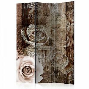 artgeist Paravent Old Wood & Roses [Room Dividers] mehrfarbig Gr. 135 x 172