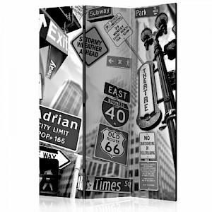 artgeist Paravent Roads to Manhattan [Room Dividers] schwarz/weiß Gr. 135 x 172