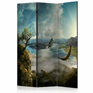 artgeist Paravent Flight over the Lake [Room Dividers] grau-kombi Gr. 135 x 172