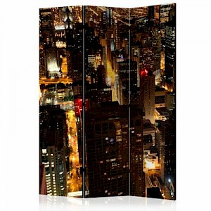 artgeist Paravent City by night - Chicago, USA [Room Dividers] mehrfarbig Gr. 135 x 172