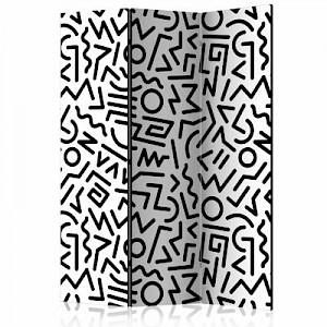 artgeist Paravent Black and White Maze [Room Dividers] schwarz/weiß Gr. 135 x 172