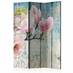 artgeist Paravent Pink Flowers on Wood [Room Dividers] mehrfarbig Gr. 135 x 172