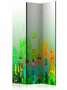 artgeist Paravent Abstract City [Room Dividers] grün-kombi Gr. 135 x 172