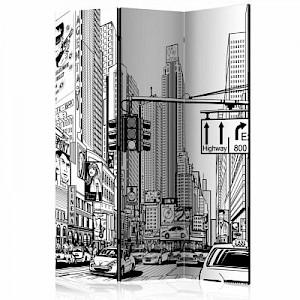 artgeist Paravent Street in New York city [Room Dividers] schwarz/weiß Gr. 135 x 172