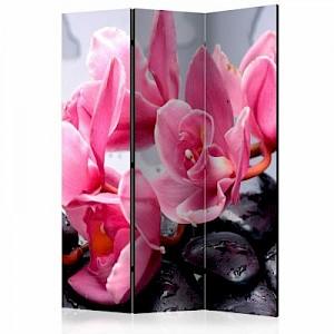 artgeist Paravent Orchid flowers with zen stones [Room Dividers] mehrfarbig Gr. 135 x 172