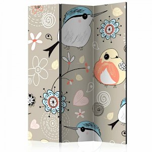 artgeist Paravent Natural pattern with birds [Room Dividers] mehrfarbig Gr. 135 x 172