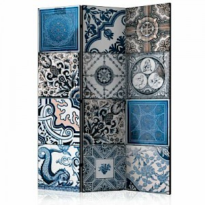 artgeist Paravent Blue Arabesque [Room Dividers] creme/grau Gr. 135 x 172