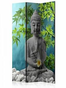 artgeist Paravent Meditating Buddha [Room Dividers] grün-kombi Gr. 135 x 172