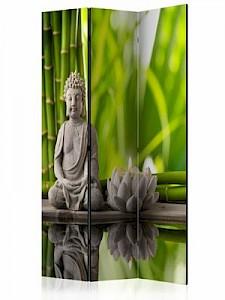 artgeist Paravent Meditation [Room Dividers] grün-kombi Gr. 135 x 172