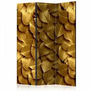artgeist Paravent Golden Leaves [Room Dividers] gold Gr. 135 x 172