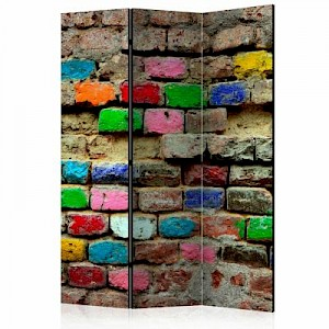 artgeist Paravent Colourful Bricks [Room Dividers] mehrfarbig Gr. 135 x 172