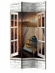 artgeist Paravent Autumnal Lake [Room Dividers] braun-kombi Gr. 135 x 172