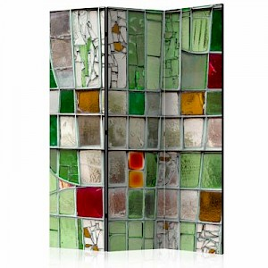 artgeist Paravent Emerald Stained Glass [Room Dividers] mehrfarbig Gr. 135 x 172
