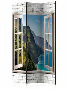 artgeist Paravent Seaside Hills [Room Dividers] blau-kombi Gr. 135 x 172