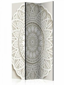 artgeist Paravent Mandala 3D [Room Dividers] weiß/beige Gr. 135 x 172