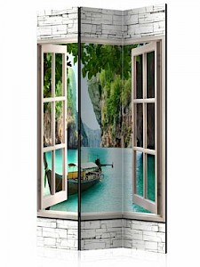 artgeist Paravent Thai Paradise [Room Dividers] blau-kombi Gr. 135 x 172