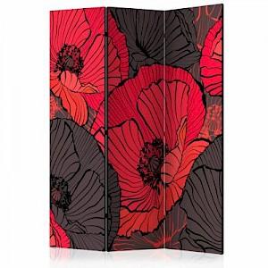 artgeist Paravent Pleated poppies [Room Dividers] mehrfarbig Gr. 135 x 172