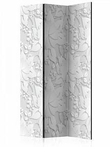 artgeist Paravent Room divider – Flowers I schwarz/weiß Gr. 135 x 172