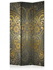 artgeist Paravent Golden Butterfly [Room Dividers] gelb-kombi Gr. 135 x 172