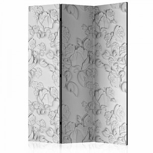 artgeist Paravent White ornament: roses [Room Dividers] grau Gr. 135 x 172