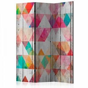 artgeist Paravent Rainbow Triangles [Room Dividers] mehrfarbig Gr. 135 x 172