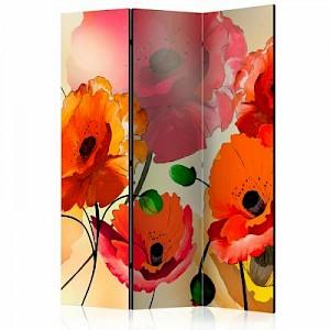 artgeist Paravent Velvet Poppies [Room Dividers] gelb-kombi Gr. 135 x 172