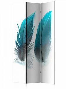 artgeist Paravent Blue Feathers [Room Dividers] blau-kombi Gr. 135 x 172