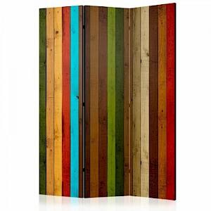 artgeist Paravent Wooden rainbow [Room Dividers] mehrfarbig Gr. 135 x 172